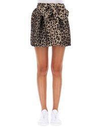 P.A.R.O.S.H. - Leopard Print Flared Mini Skirt - Lyst