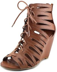 MIA - Issy Women Open Toe Synthetic Brown Wedge Sandal - Lyst