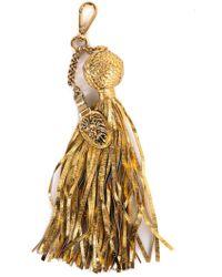 Roberto Cavalli - Gold Pendant Snakeskin Ball Chain Tassel Keychain - Lyst