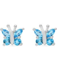 Amanda Rose Collection - Swiss Blue Topaz Butterfly Stud Earrings Set In Sterling Silver - Lyst