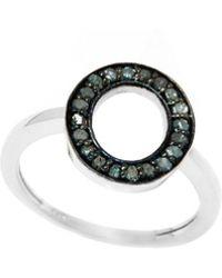 Barzel - Sterling Silver 0.16cttw Genuine Open Round Blue Diamond Ring - Lyst