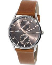 Skagen - Men's Holst Skw6086 Brown Leather Japanese Quartz Fashion Watch - Lyst