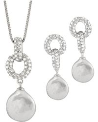 Splendid - Heavy Cz Pearl Pendant And Matching Earrings - Lyst