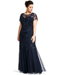 Lyst Adrianna Papell Floral Beaded Godet Gown In Blue