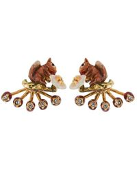 Les Nereides - Forest's Secret Squirrel Earrings And Removable Berries Clasp - Lyst