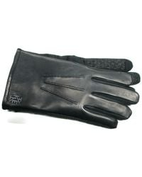 Ike Behar - Leather Softshell Stretch Touchscreen Gloves - Lyst