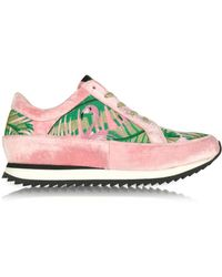 Charlotte Olympia - Work It Flamingo Pink Velevet Lace Up Sneakers - Lyst