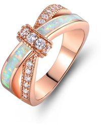 Peermont - 18k Rose Gold Plated White Fire Opal & Cz Crisscross Engagement Ring - Lyst