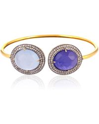 Socheec - Tanzanite And Diamond Thin Cuff - Lyst