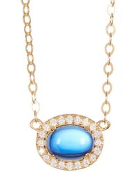 Adornia - Yellow Gold Vermeil And Swarovski Crystal Oval Halo Necklace - Lyst