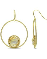 Catherine Malandrino - Citrine Circle Drop Earrings In Sterling Silver - Lyst
