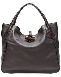 63adb8092ac Gucci - Dark Brown Soft Deer Leather Large Hip Bamboo Tote Bag - Lyst