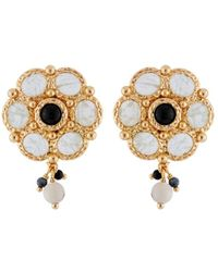 Les Nereides - Byzantine Treasures Stones Flower And Charms Earrings - Lyst