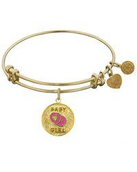 Angelica - Stipple Finish Brass Enamel Baby Girl Bangle Bracelet, 7.25 - Lyst