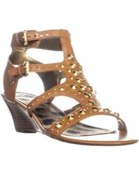 Guess - Aidana Wedge Sandals, Medium Brown Leather - Lyst