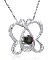 Amanda Rose Collection - 1/2ct Mystic Topaz And Diamond Butterfly Pendant-necklace In Sterling Silver - Lyst