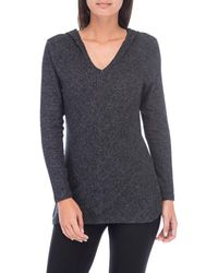 Bobeau - Cosy Jumper Hoodie With Smooth V Neckline For Women - Lyst
