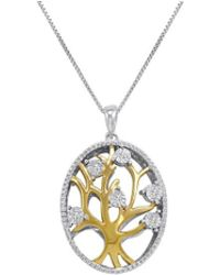 Amanda Rose Collection - Sterling Silver Diamond Tree Of Life Pendant-necklace On An 18 Inch Chain - Lyst