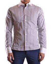 Dirk Bikkembergs | Men's Mcbi097011o White/grey Cotton Shirt | Lyst