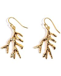 Viviane Guenoun - Leaf Gold Plated Hook Earrings - Lyst