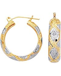 Jewelry Affairs - 10k 2 Tone White And Yellow Gold Diamond Cut Textured Round Hoop Earrings, Diameter 22mm - Lyst