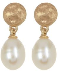 Adornia - Sterling Silver Matte Finish Disc With Hanging Fresh Water Pearl Earrings - Lyst