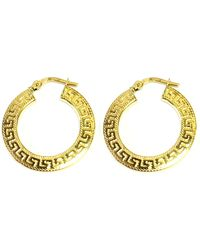 Jewelry Affairs - 14k Yellow Gold Small Greek Key Textured Hoop Earrings, Diameter 22mm - Lyst