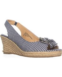 Karen Scott - Ks35 Dashy Platform Wedge Sandals, Blue/white - Lyst