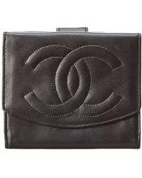 Chanel - Black Lambskin Leather Wallet - Lyst