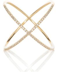 Adornia   Yellow Gold And Swarovski Crystal Crossover Ring   Lyst