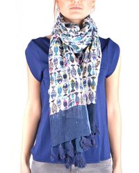 Altea - Women's Blue Linen Scarf - Lyst