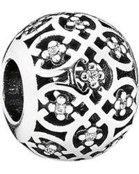 PANDORA - Silver Cz Intricate Lattice Charm - Lyst