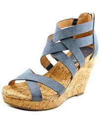 Report - Khandi Women Open Toe Synthetic Gray Wedge Sandal - Lyst