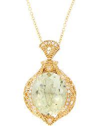Effy - Fine Jewelry 14k 4.47 Ct. Tw. Diamond & Green Amethyst Necklace - Lyst