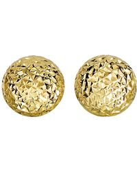 Jewelry Affairs - 14k Yellow Gold Diamond Cut Round Puffed Stud Earrings, 11mm - Lyst