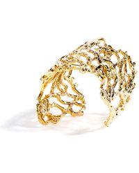 Viviane Guenoun - Leaf Gold Plated Cuff Bracelet - Lyst