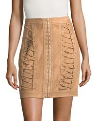 Balmain - Solid Lace-up Skirt - Lyst