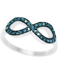 Barzel - Sterling Silver 0.25cttw Genuine Sideway Infinity Blue Diamond Ring - Lyst