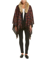 Raga - On The Hunt Poncho With Faux Fur Collar - Lyst