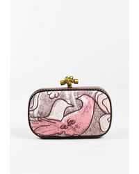 "Bottega Veneta - 1 Pink Purple Bird Embroidered Leather Trim ""knot"" Clutch - Lyst"