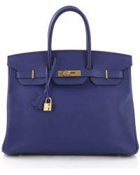 32c99c07097 Hermès - Pre Owned Birkin Handbag Electric Blue Epsom With Gold Hardware 35  - Lyst