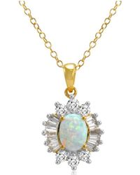 Amanda Rose Collection - Yellow Gold Flashed Sterling Silver Created Opal And White Sapphire Pendant-necklace - Lyst
