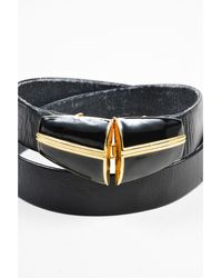 St. John - 1 Vintage Black/gold Leather Belt - Lyst