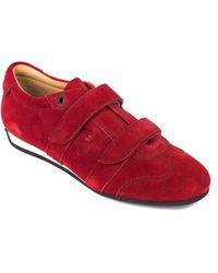 Car Shoe - Womens Red Suede Fastener Sneakers - Lyst