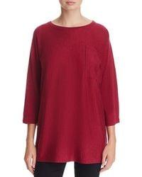 Eileen Fisher - Womens Wool Sheer Tunic Sweater - Lyst