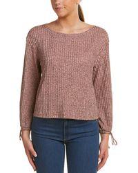 Ella Moss - Blouse Sleeve Ribbed Sweatshirt - Lyst