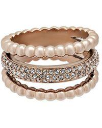 Swarovski - Crystal Click 18k Rose Gold Plated Ring - Lyst