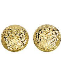Jewelry Affairs - 14k Yellow Gold Diamond Cut Round Puffed Stud Earrings, 11mm - Lyst
