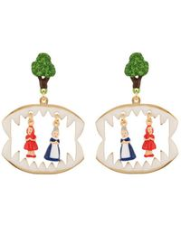 Les Nereides - Into The Woods Litlle Red Riding Hood And The Grandmother In The Wolf's Maw Earrings - Lyst