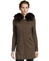 Catherine Malandrino - Womens Cotton Anorak With Faux Fur Hood - Lyst